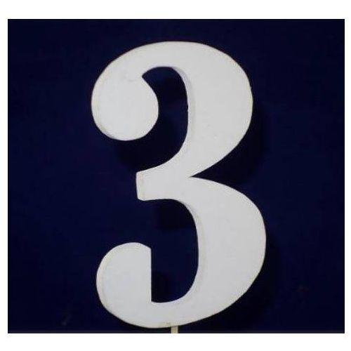 Cyfra drewniana na piku - nr 3 - 1 szt.