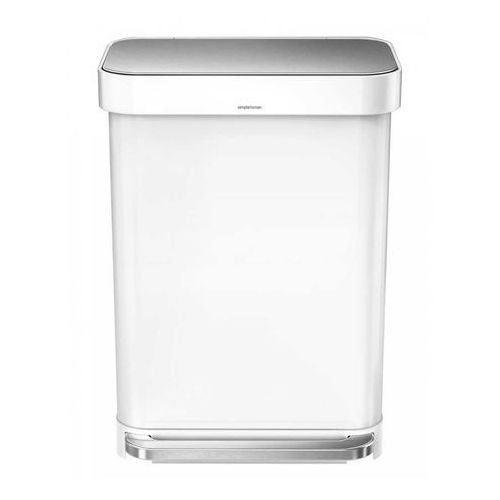 Kosz z kieszenią na worki Simplehuman Liner Pocket 55l biały stalowy, kolor biały