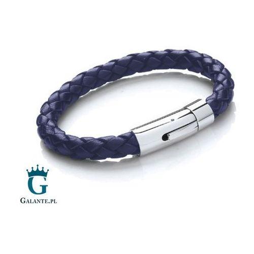 Niebieska bransoleta ze skóry T659