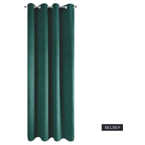 Selsey zasłona na przelotkach faladi 140x250 cm ciemnoturkusowa (5903025548203)