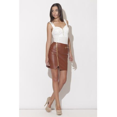 Brązowa Mini Spódnica z Długim Asymetrycznym Suwakiem, KK096br