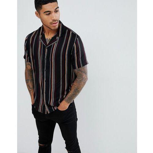 boohooMAN regular fit revere collar shirt in black stripe - Black, w 4 rozmiarach