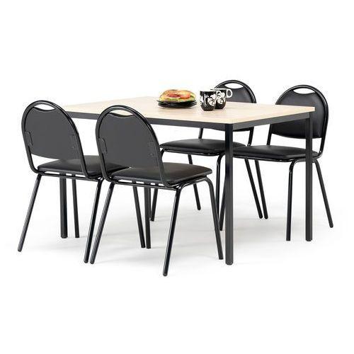 Zestaw mebli do stółówki, stół 1200x800 mm, brzoza + 4 krzesła, skai/czarny marki Aj produkty