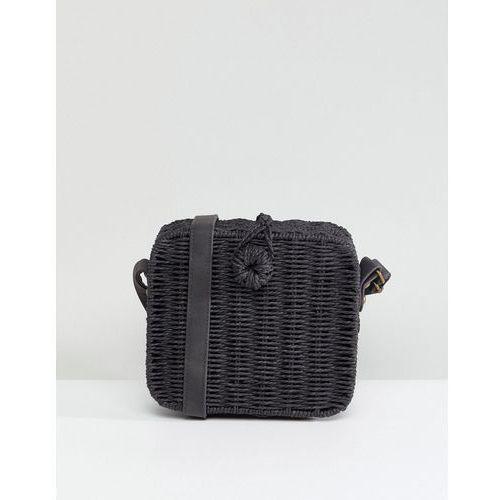 design straw square structure basket bag with water based pu strap - black marki Asos