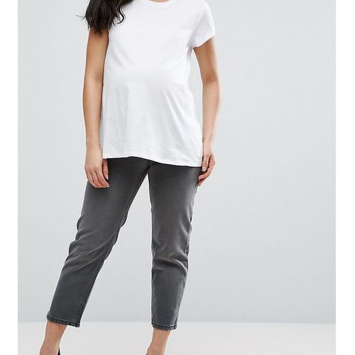 ASOS Maternity Maddox Parallel Crop Jeans In Charcoal With Abrasion Hem - Grey, kolor szary