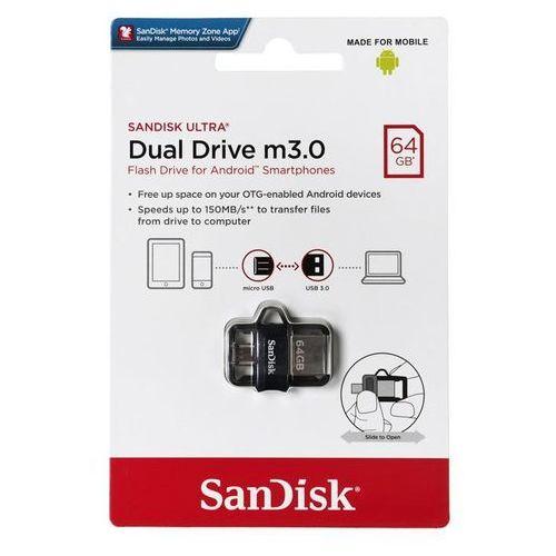 Pendrive ultra dual drive sddd3-064g-g46 (64gb; microusb, usb 3.0; kolor czarny) marki Sandisk