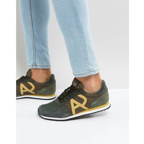 Armani jeans logo runner trainers in khaki - green