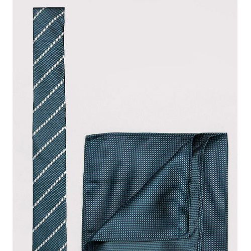 New Look Stripe Tie And Pocket Square In Green - Green