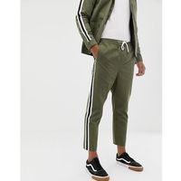 smart joggers co-ord in khaki with side stripe - green, Boohooman, S-XL