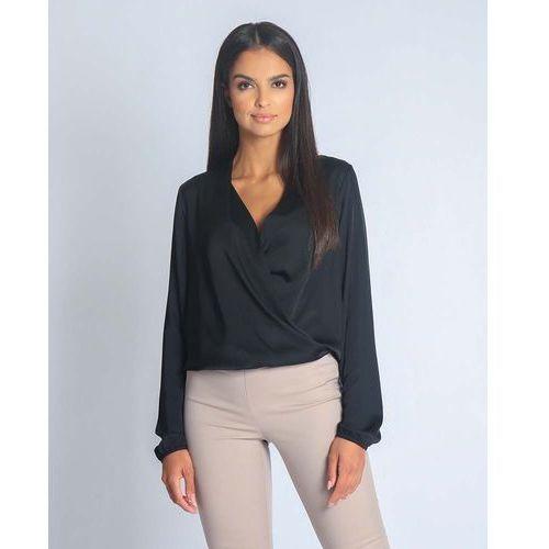 Czarna elegancka połyskująca bluzka kopertowa marki Dursi