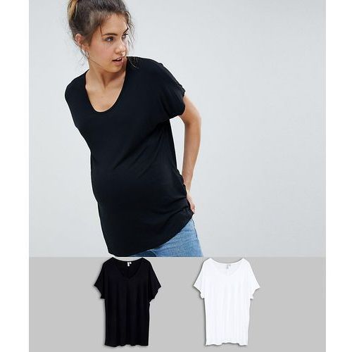 Asos design maternity t-shirt with drapey batwing sleeve 2 pack save - multi, Asos maternity