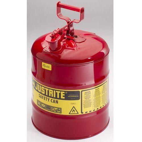 Justrite Bezpieczny pojemnik, blacha stalowa, poj. 19 l, czerwony. z blachy stalowej. prz