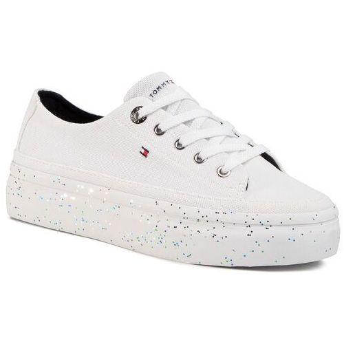 Tenisówki TOMMY HILFIGER - Glitter Platform Sneaker FW0FW04693 White YBS, kolor biały