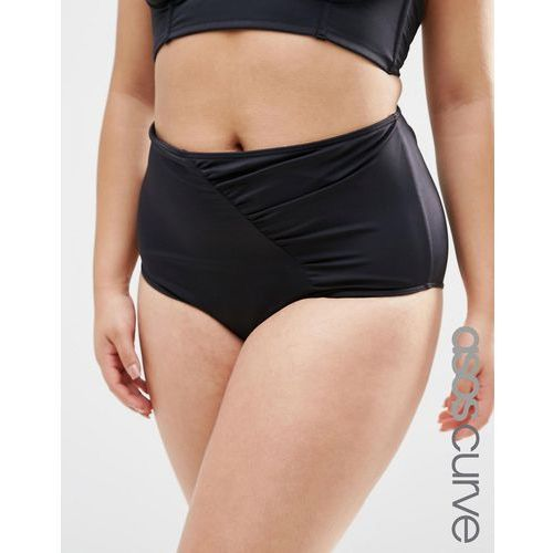 ASOS CURVE Mix & Match Highwaist Bikini Bottom with Wrapped Front and Support - Black, kolor czarny