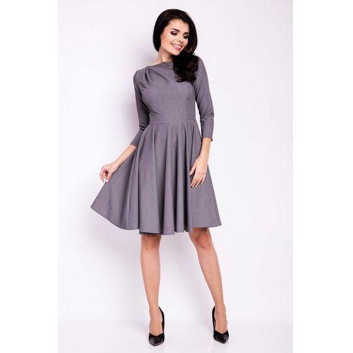 Szara sukienka elegancka rozkloszowana z zakładkami przy dekolcie, Infinite you, 36-42