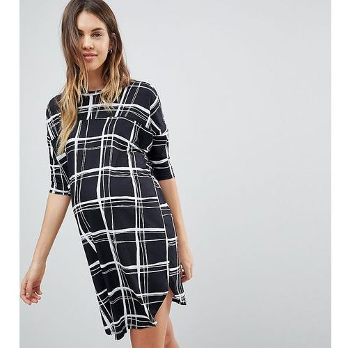 Asos maternity oversize t-shirt dress with seam detail in mono check print - multi