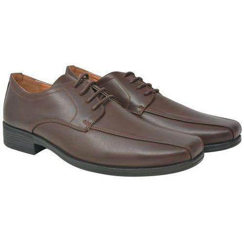 Vidaxl eleganckie sznurowane buty męskie, brązowe, rozmiar 44 skóra pu