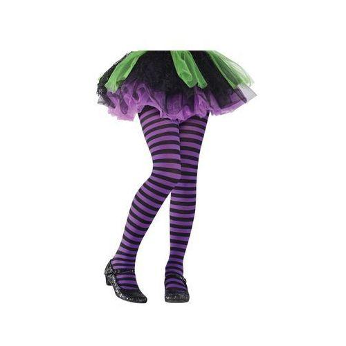 Amscan Rajstopy w fioletowo-czarne paski dla dziewczynki (0809801751452)