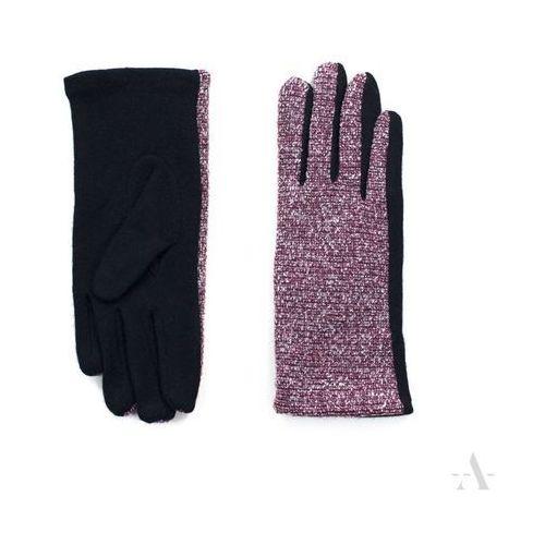 Melanżowe rękawiczki damskie czarno-bordowe - czarny   bordowy marki Evangarda