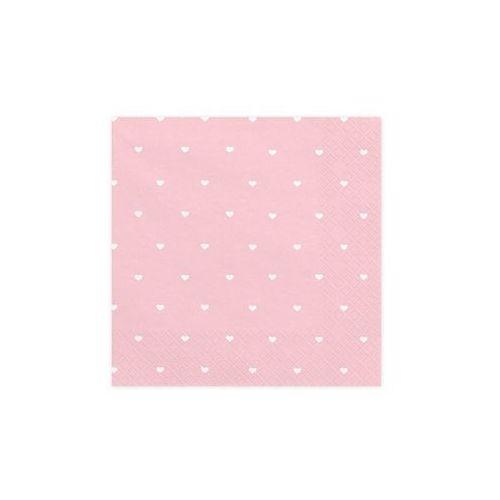 Serwetki urodzinowe różowe w białe serduszka - 33 cm - 20 szt. (5902230750869)