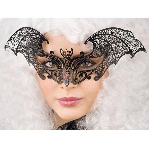 Maska karnawałowa ornamentowa czarna w kształcie nietoperza - 1 szt.