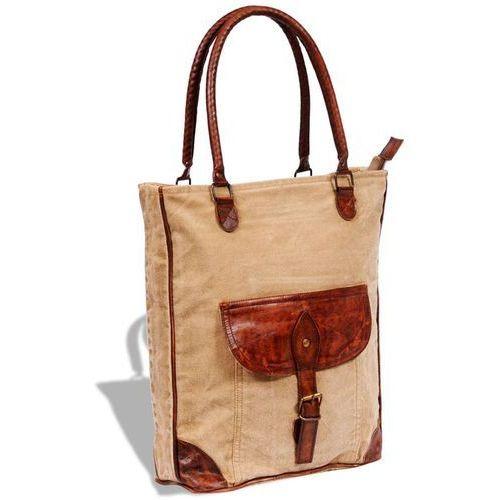 vidaXL Płócienno-skórzana torba z kieszenią i klamrą