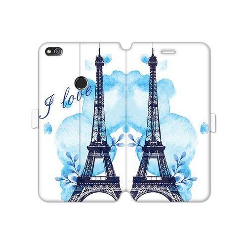 Etuo wallet book fantastic Huawei p8 lite (2017) - etui na telefon wallet book fantastic - niebieska wieża eiffla