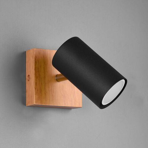 Trio marley 812400132 plafon lampa sufitowa 1x35w gu10 czarny mat/drewno (4017807487954)