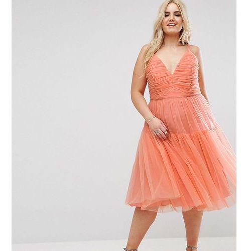 tulle midi prom dress - orange marki Asos curve