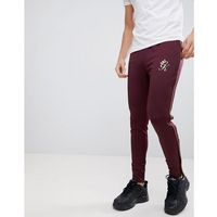 skinny joggers in burgundy with gold piping - red marki Gym king