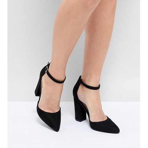 Truffle collection pointed block heels - black