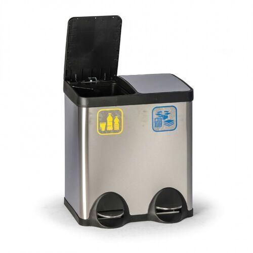 Pedałowy kosz do segregacji śmieci, 40 l, ze stali nierdzewnej marki B2b partner
