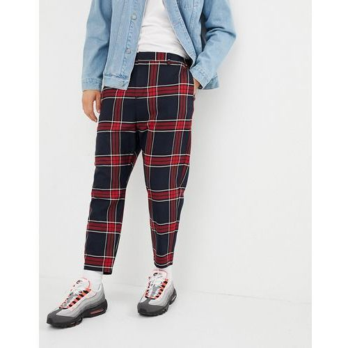 Bershka carrot fit check trousers in black and red - Black, kolor czarny