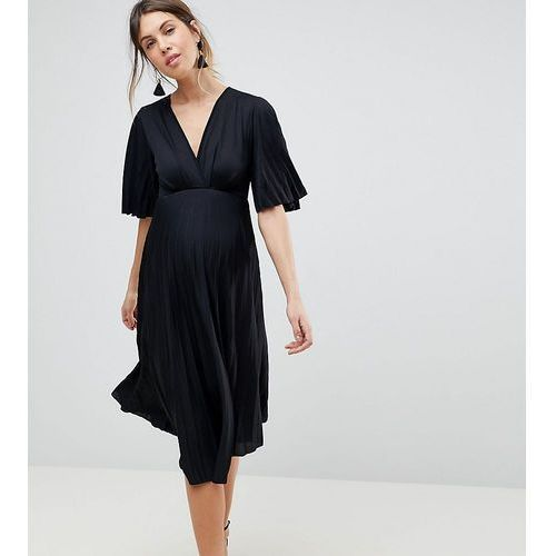 Asos maternity kimono pleated midi dress - black