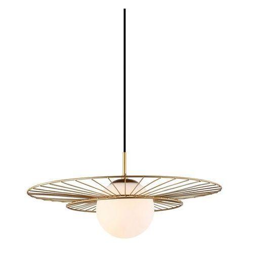 Druciana LAMPA wisząca ALISON MDM-4001/1 GD Italux okrągła OPRAWA szklana kula ball ZWIS sarah sally loft złoty biały
