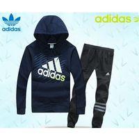 Dresy bluza granatowa ( białe/zielone logo), spodnie czarne/szare pf15093 marki Adidas