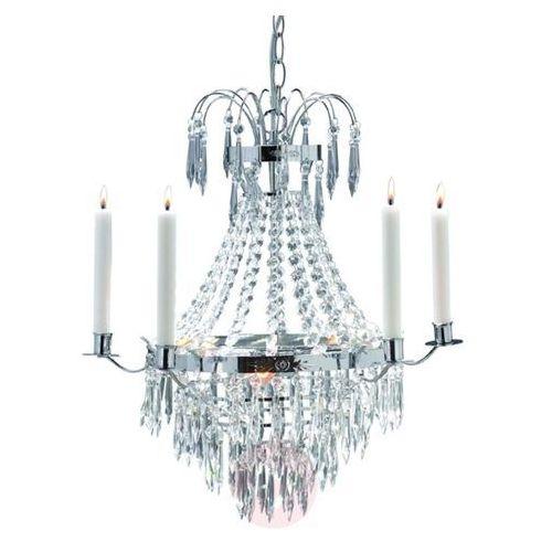 Piękny żyrandol świecowy Krageholm, chrom, kolor chrom,