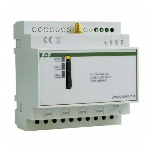 Przekaźnik zdalnego sterowania GSM Sterowanie SMS ON/OFF/Alarm 4x Wejście 4x Wyjście SIMply MAX P04 F&F 9777 (5908312599777)