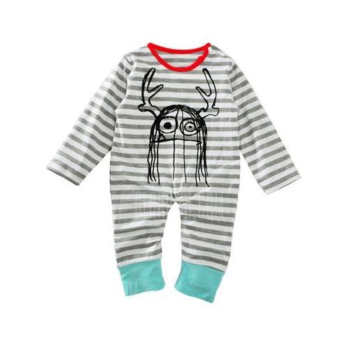 Baby Newborn Toddler Print Striped Long Sleeve Jumpsuit Bodysuit