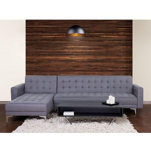 Sofa szara - kanapa - tapicerowana - rozkładana - narożnik - aberdeen marki Beliani