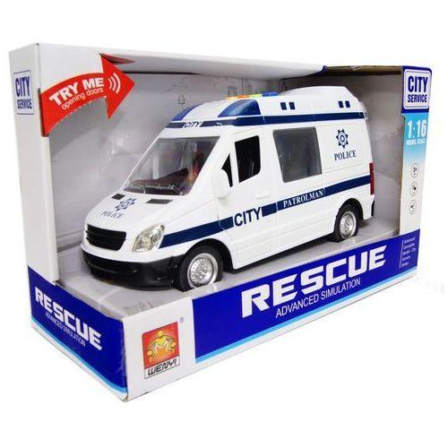Ambulans 1:16 Policja 4 dźwięki, koło zamach, otw.drzwi - produkt z kategorii- Policja