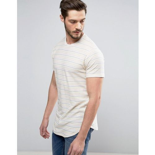 Only & Sons Longline T-Shirt in Stripe with Curved Hem And Scoop Neck - Cream