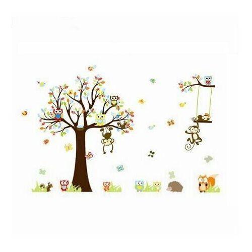 4-home Naklejka dekoracyjna bajkowe drzewo sowy, małpki 150 cm