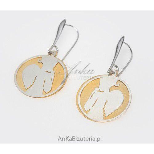 Kobieta Anioł -kolczyki srebrne na tle ze srebra pokrytego 14 k złotem, kolczyki., kolor szary
