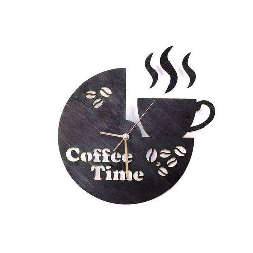 Drewniany zegar na ścianę Coffee Time ze złotymi wskazówkami