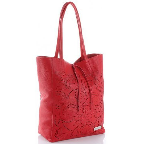 ażurowa torebka skórzana włoski shopperbag czerwona (kolory) marki Vittoria gotti