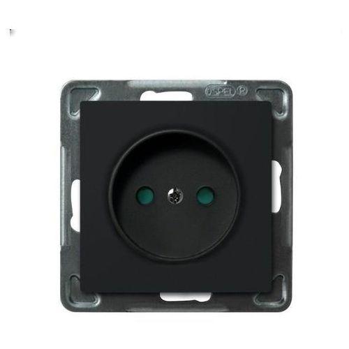 Gniazdo pojedyncze bez uziemienia z przesłonami Czarny metalik - GP-1RP/m/33 Sonata, GP-1RP/M/33