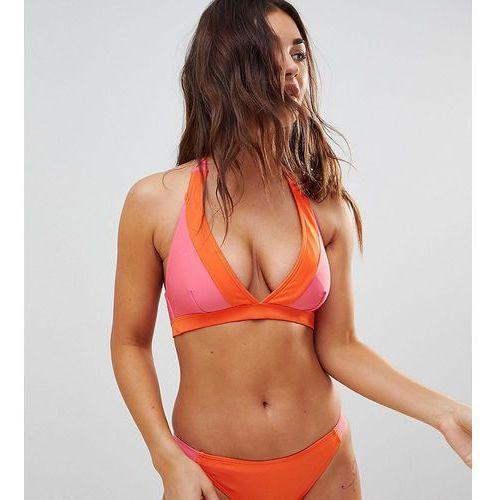 Wolf & Whistle Fuller Bust Contrast Plunge Bikini Top DD-G - Multi, 1 rozmiar