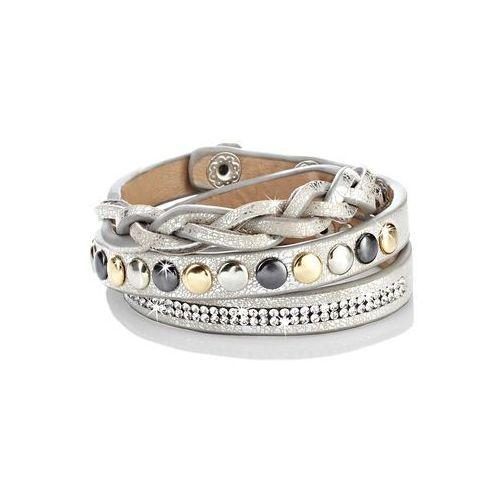 Bonprix Bransoletka z ćwiekami beżowy metaliczny - srebrny kolor