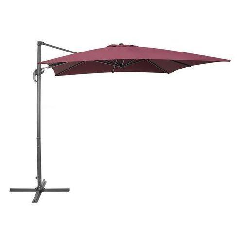 Beliani Parasol ogrodowy 250 x 250 x 235 cm burgundowy/ciemnoszary monza (4260602371021)